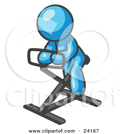 Clipart Illustration of a Light Blue Man Exercising On A Stationary Bicycle by Leo Blanchette