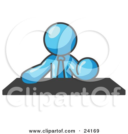 Clipart Illustration of a Light Blue Businessman Seated at a Desk During a Meeting by Leo Blanchette