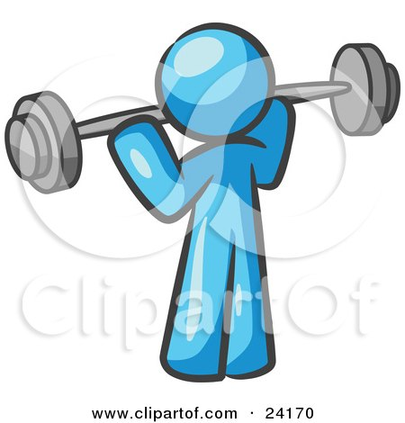 Clipart Illustration of a Light Blue Man Lifting A Barbell While Strength Training by Leo Blanchette