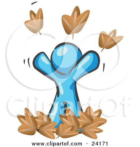 Clipart Illustration of a Carefree Light Blue Man Tossing Up Autumn Leaves In The Air, Symbolizing Happiness And Freedom by Leo Blanchette