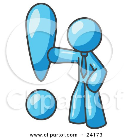 Clipart Illustration of a Light Blue Businessman Standing by a Large Exclamation Point by Leo Blanchette