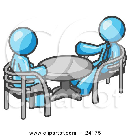 Clipart Illustration of Two Light Blue Business Men Sitting Across From Eachother at a Table During a Meeting by Leo Blanchette