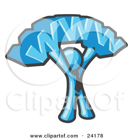 Clipart Illustration of a Proud Light Blue Business Man Holding WWW Over His Head  by Leo Blanchette