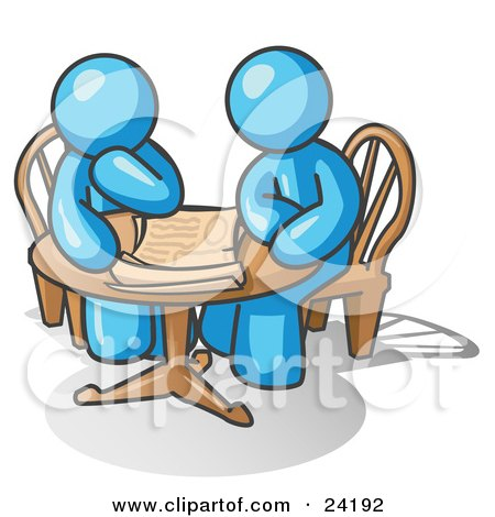 Clipart Illustration of Two Light Blue Businessmen Sitting at a Table, Discussing Papers by Leo Blanchette
