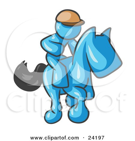 Clipart Illustration of a Light Blue Man, A Jockey, Riding On A Race Horse And Racing In A Derby by Leo Blanchette