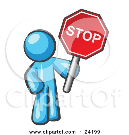 Clipart Illustration of a Light Blue Man Holding a Red Stop Sign by Leo Blanchette