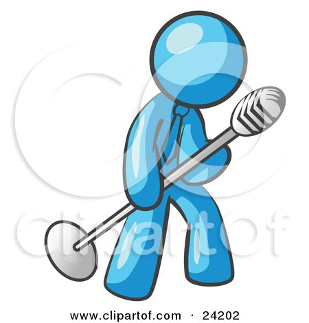 Clipart Illustration of a Light Blue Man In A Tie, Singing Songs On Stage During A Concert Or At A Karaoke Bar While Tipping The Microphone by Leo Blanchette