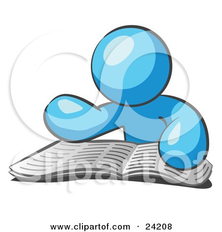 Clipart Illustration of a Light Blue Man Character Seated And Reading The Daily Newspaper To Brush Up On Current Events by Leo Blanchette