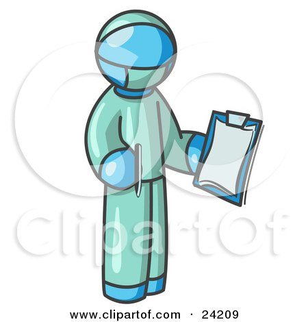 Light Blue Surgeon Man in Green Scrubs, Holding a Pen and Clipboard Posters, Art Prints