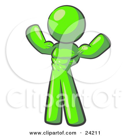 Clipart Illustration of a Lime Green Bodybuilder Man Flexing His Muscles And Showing The Definition In His Abs, Chest And Arms by Leo Blanchette