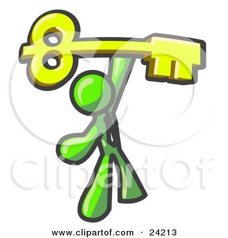 Clipart Illustration of a Lime Green Businessman Holding A Large Golden Skeleton Key, Symbolizing Success by Leo Blanchette