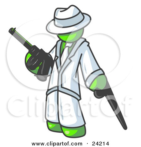 Clipart Illustration of a Lime Green Gangster Man Carrying a Gun and Leaning on a Cane by Leo Blanchette