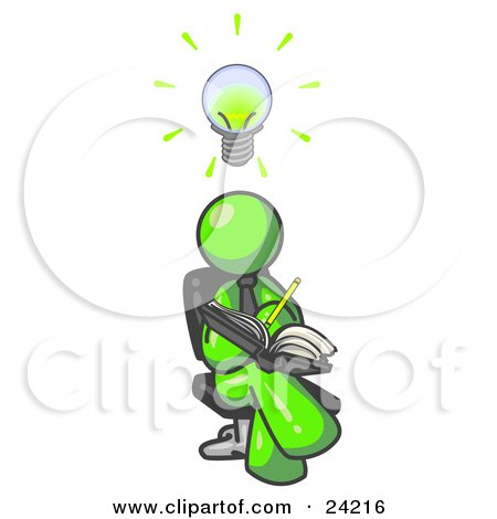 Clipart Illustration of a Smart Lime Green Man Seated With His Legs Crossed, Brainstorming and Writing Ideas Down in a Notebook, Lightbulb Over His Head by Leo Blanchette