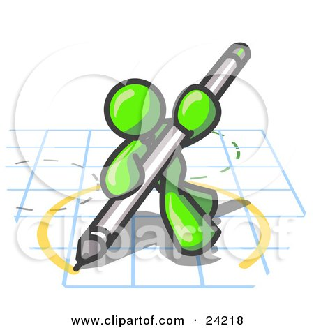 Clipart Illustration of a Lime Green Man Holding a Pencil and Drawing a Circle on a Blueprint by Leo Blanchette