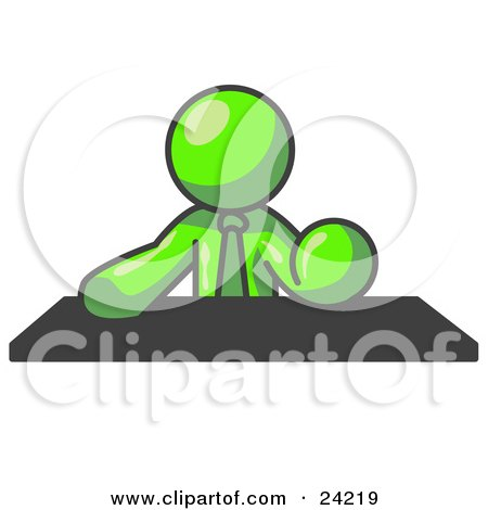 Clipart Illustration of a Lime Green Businessman Seated at a Desk During a Meeting by Leo Blanchette