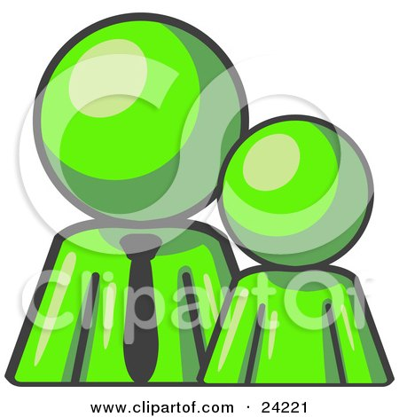Clipart Illustration of a Lime Green Child Or Employee Standing Beside A Bigger Blue Businessman, Symbolizing Management, Parenting Or Mentorship by Leo Blanchette