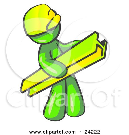 Clipart Illustration of a Lime Green Man Construction Worker Wearing A Hardhat And Carrying A Beam At A Work Site by Leo Blanchette