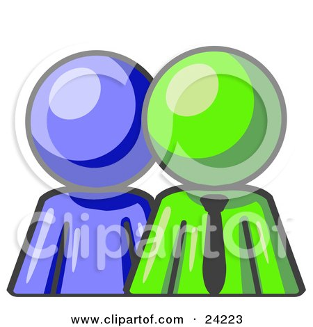 Clipart Illustration of a Blue Person Standing Beside A Lime Green Businessman, Symbolizing Teamwork Or Mentoring by Leo Blanchette