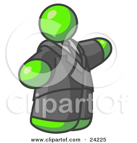 Clipart Illustration of a Big Lime Green Business Man in a Suit and Tie by Leo Blanchette