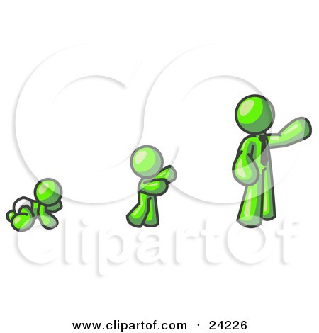 Clipart Illustration of a Lime Green Man in His Growth Stages of Life, as a Baby, Child and Adult by Leo Blanchette