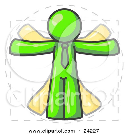 Clipart Illustration of a Man in Motion, Lime Green Vitruvian Cartoon Man by Leo Blanchette