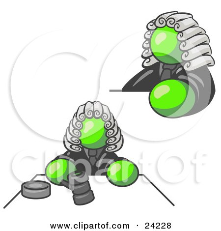Clipart Illustration of a Lime Green Judge Man Wearing a Wig in Court by Leo Blanchette