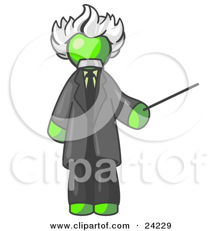 Clipart Illustration of a Lime Green Man Depicted as Albert Einstein Holding a Pointer Stick by Leo Blanchette