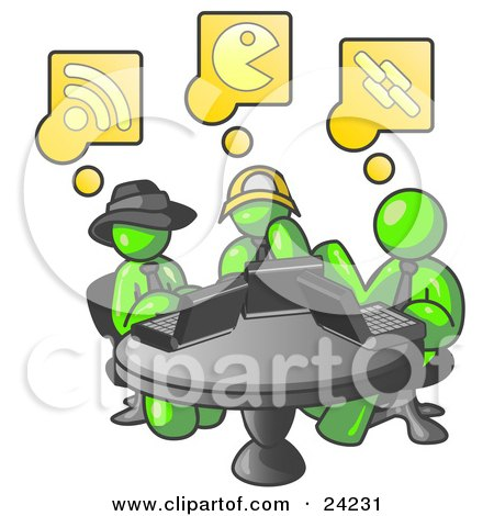 Clipart Illustration of Three Lime Green Men Using Laptops in an Internet Cafe by Leo Blanchette