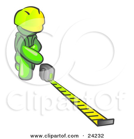 Clipart Illustration of a Lime Green Man Contractor Wearing A Hardhat, Kneeling And Measuring by Leo Blanchette