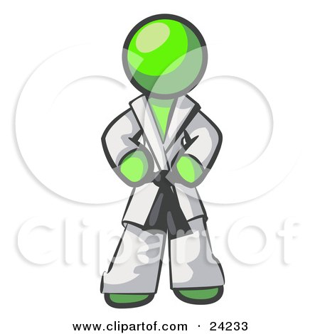 Clipart Illustration of a Tough Lime Green Man In A White Karate Suit And A Black Belt, Standing With His Hands On His Hips by Leo Blanchette