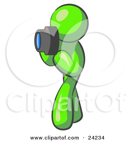 Clipart Illustration of a Lime Green Man Character Tourist Or Photographer Taking Pictures With A Camera by Leo Blanchette