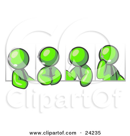 Clipart Illustration of Four Different Lime Green Men Wearing Headsets And Having A Discussion During A Phone Meeting by Leo Blanchette