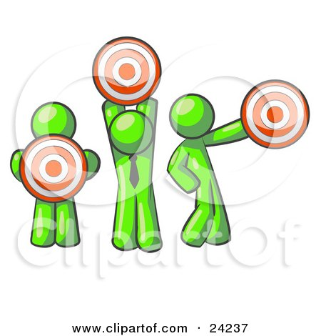Clipart Illustration of a Group Of Three Lime Green Men Holding Red Targets In Different Positions by Leo Blanchette