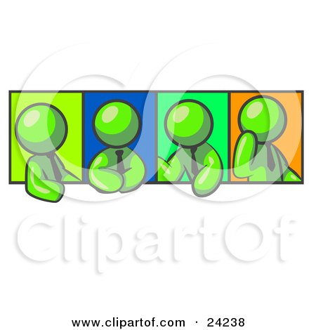 Clipart Illustration of Four Lime Green Men In Different Poses Against Colorful Backgrounds, Perhaps During A Meeting by Leo Blanchette