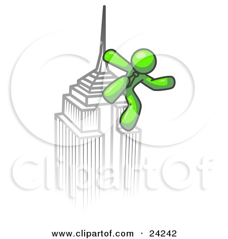 Clipart Illustration of a Lime Green Man Climbing to the Top of a Skyscraper Tower Like King Kong, Success, Achievement by Leo Blanchette