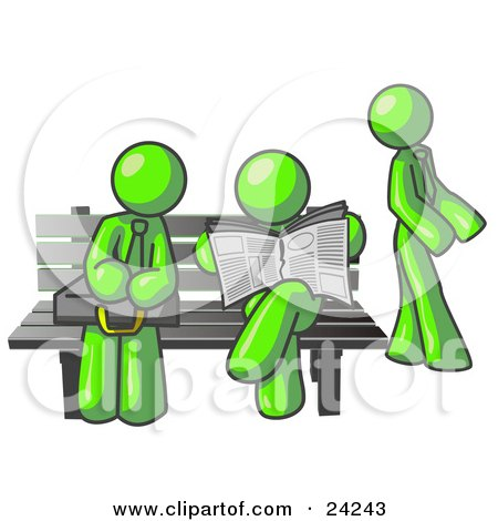 Clipart Illustration of Lime Green Men at a Bench at a Bus Stop  by Leo Blanchette