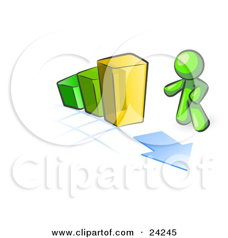 Clipart Illustration of a Lime Green Man Standing By An Increasing Green, Yellow And Orange Bar Graph On A Grid Background With An Arrow by Leo Blanchette