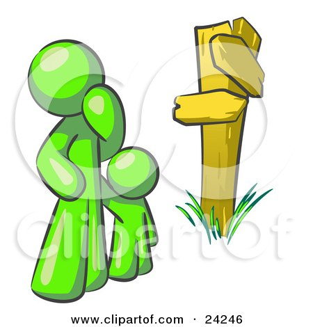 Clipart Illustration of an Uncertain Lime Green Man And Child Standing At A Wooden Post, Trying To Decide Which Direction To Go At A Crossroads by Leo Blanchette