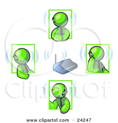 Clipart Illustration of a Group of Four Lime Green Men Holding A Phone Meeting And Wearing Wireless Bluetooth Headsets by Leo Blanchette