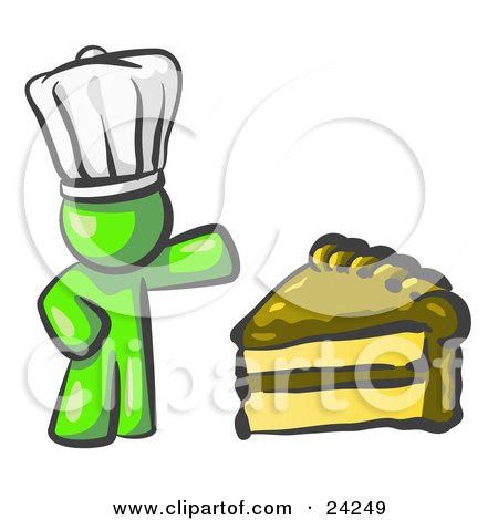Clipart Illustration of a Lime Green Chef Man Wearing A White Hat And Presenting A Tasty Slice Of Chocolate Frosted Cake by Leo Blanchette