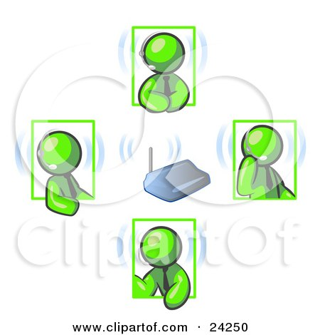 Clipart Illustration of Green Men Holding A Phone Meeting And Wearing Wireless Headsets by Leo Blanchette