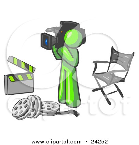 Clipart Illustration of a Lime Green Man Filming a Movie Scene With a Video Camera in a Studio by Leo Blanchette