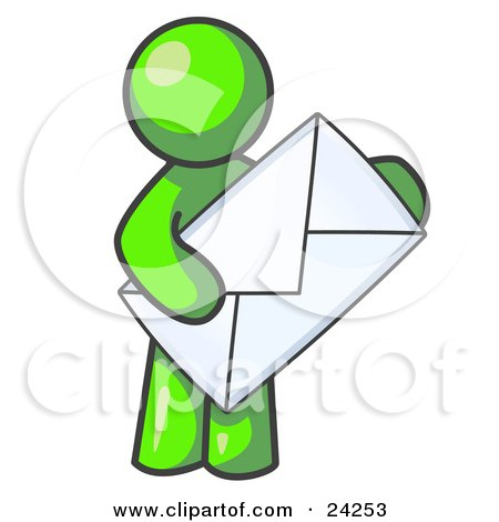 Clipart Illustration of a Lime Green Person Standing And Holding A Large Envelope, Symbolizing Communications And Email by Leo Blanchette