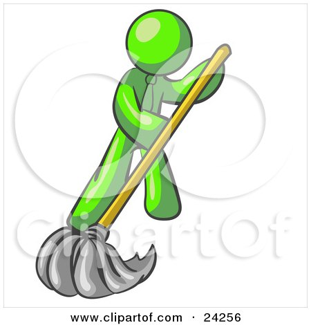 Clipart Illustration of a Lime Green Man Wearing A Tie, Using A Mop While Mopping A Hard Floor To Clean Up A Mess Or Spill by Leo Blanchette