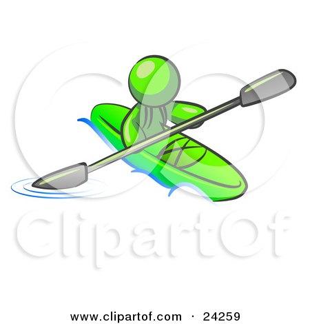 Lime Green Man Paddling Down A River In Kayak