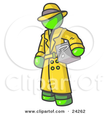 Clipart Illustration of a Secretive Lime Green Man in a Trench Coat and Hat, Carrying a Box With a Question Mark on it by Leo Blanchette
