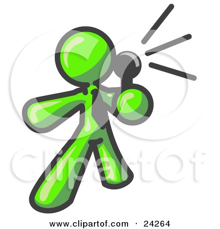 Clipart Illustration of a Lime Green Man Holding a Megaphone and Making an Announcement by Leo Blanchette