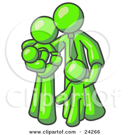 Clipart Illustration of a Lime Green Family Man, a Father, Hugging His Wife and Two Children by Leo Blanchette