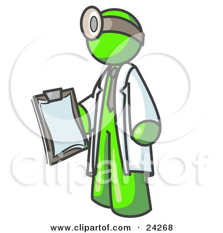 Lime Green Male Doctor Holding a Clipboard And Wearing a Head Lamp Posters, Art Prints