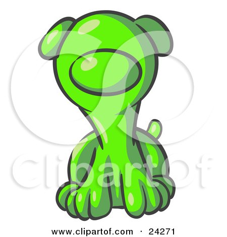 Clipart Illustration of a Cute Lime Green Puppy Dog Looking Curiously at the Viewer by Leo Blanchette
